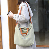 Casual Letter Print Canvas Crossbody Bag