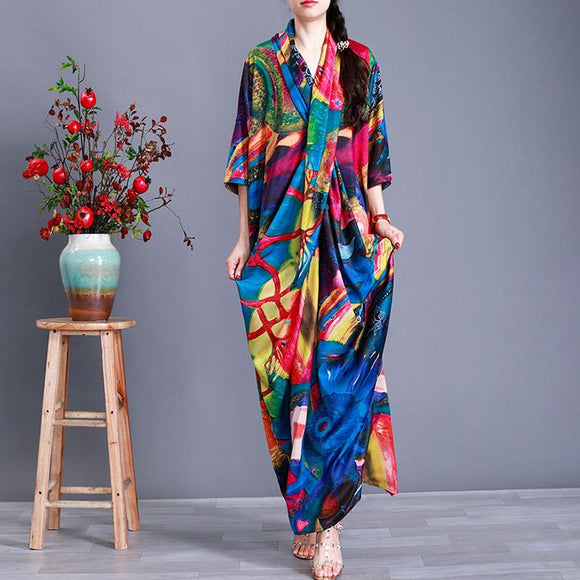 Colorful Prints Half Sleeve Silk Dress