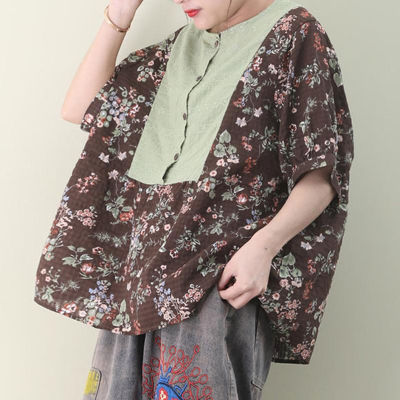 Floral Print Embroidery Splicing Summer Linen T-shirt