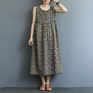 Front And Rear Folds Print Sleeveless Dress