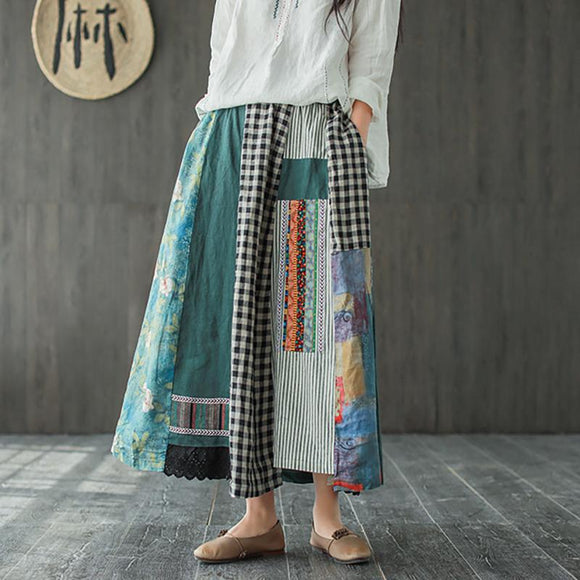 Irregular Print Spliced Casual 100% Linen A-line Skirt