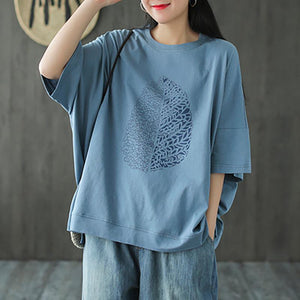 Leaf Printed Summer Half Sleeve Cotton T-shirt