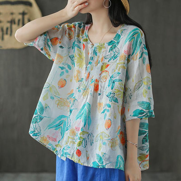 O-neck Floral Prints Pleated Ramie T-shirt