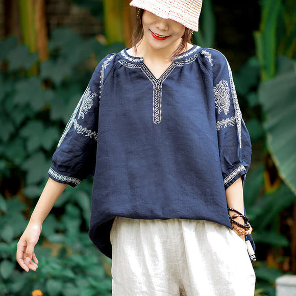 Autumn new style plus size loose literary cotton and linen V-neck embroidery 3/4 sleeve top