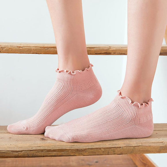 Pure Color Ruffled Cotton Socks - 5 Pairs