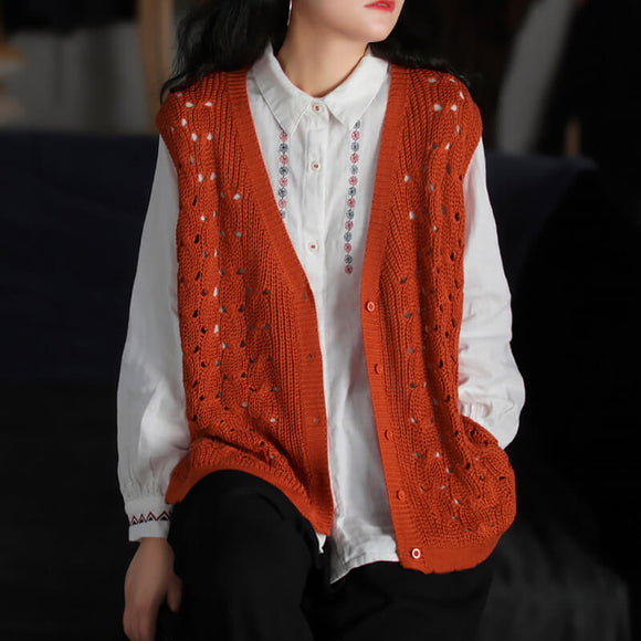 Sleeveless loose knit cardigan
