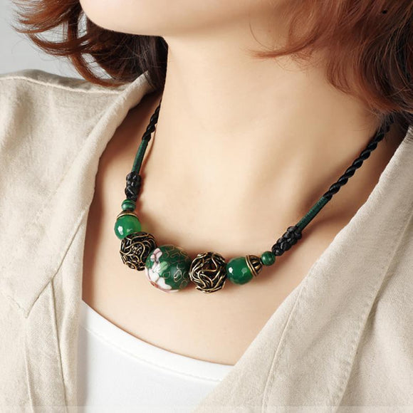 Retro Delicate Cloisonne Short Necklace