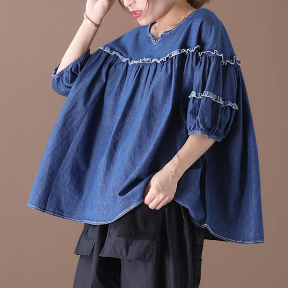 Ruffle Solid Color Half Sleeve Denim Blouse