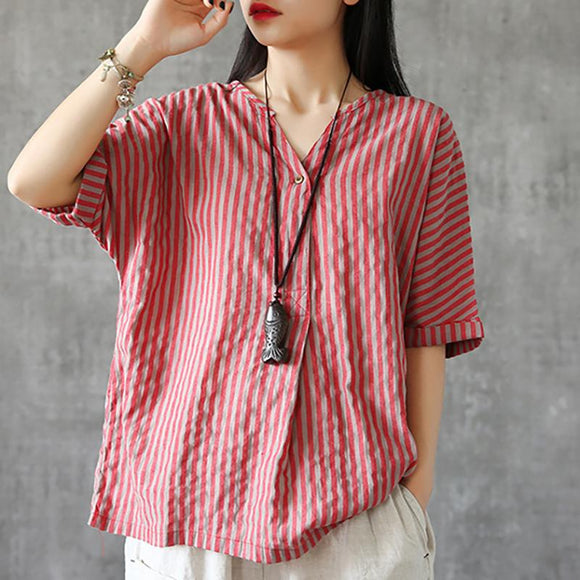 Plus Size - Single Button Stripe Vintage Summer T-Shirt
