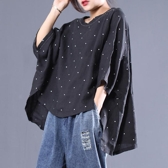 Small Dots High Low Hem Women T-Shirt