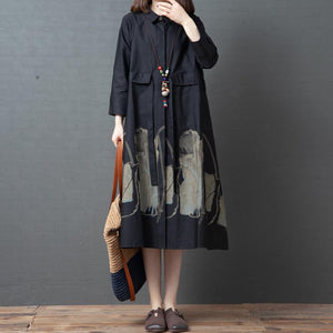 Spring Printed Long Sleeve Cotton Shirt Dress
