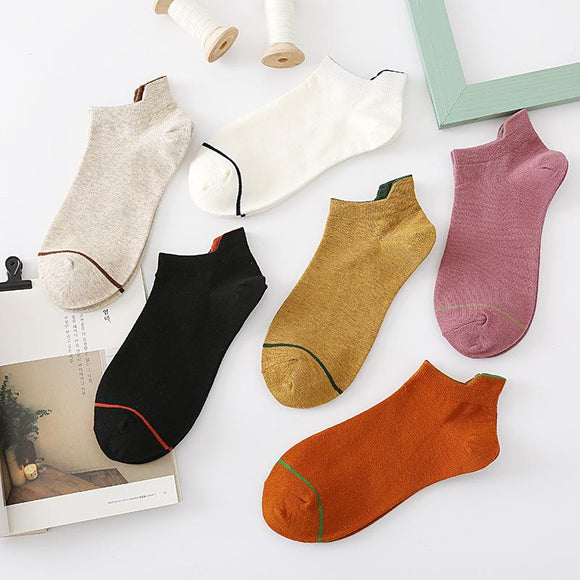 Spring Summer One Line Cotton Socks - 5 Pairs