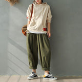 Stripe Loose Cotton Harem Pants