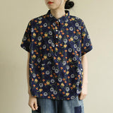 Summer Flower Print Thin Linen T-shirt