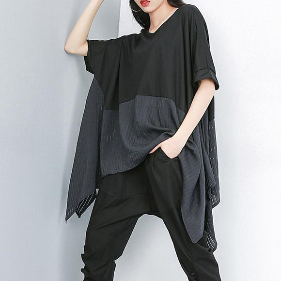 Plus Size - Summer Patchwork Batwing Sleeve Casual Blouse
