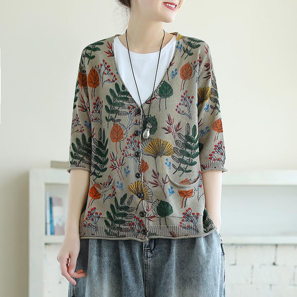 V-neck Leaf Printed Half Sleeve Cotton Knitted Shirt