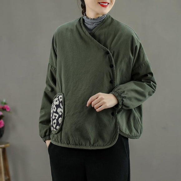 Winter Women Thicken Pocket Retro Coat