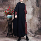 Women Knitted Color Stitching Batwing Sleeve Dress
