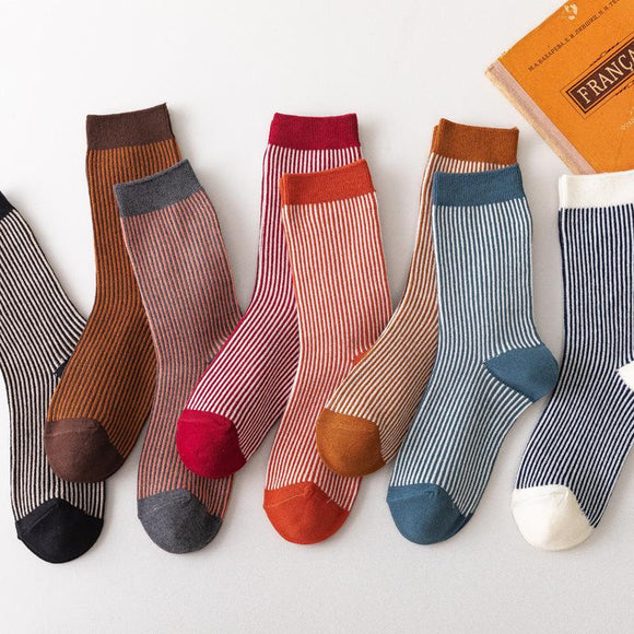 Women Striped Fashion Socks(3 Pairs)