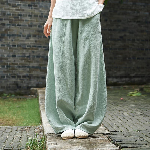 Plus Size - Women Cotton Linen Wide Leg Lantern Pants