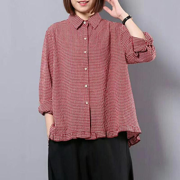 Plus Size -Women Spring Plaid Hand-Made Loose Shirt