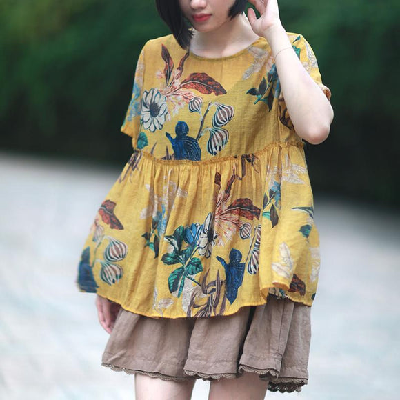 Womens Summer Floral Ruffle Babydoll Top