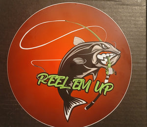 "8"" Round REEL EM UP logo sticker/decal"
