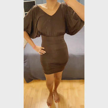 Load and play video in Gallery viewer, Chocolate Italian cold-shoulder dress