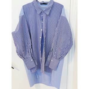 Nautical blue and white striped oversized tunic shirt from Zara