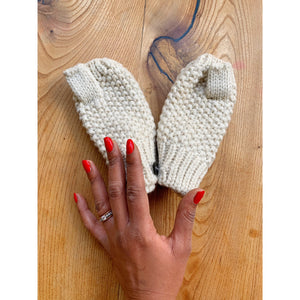 Ivory and gold mittens