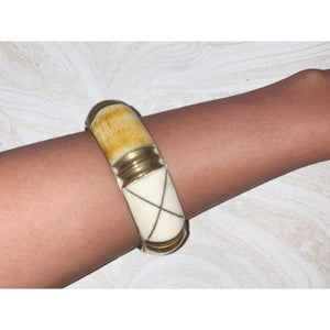 Vintage tribal silver bangle with ivory and bamboo wood detail