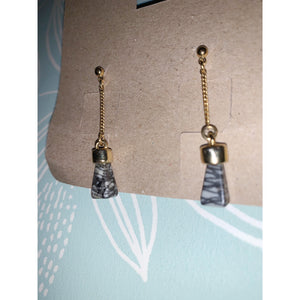 70's vintage White Howlite healing crystal earrings