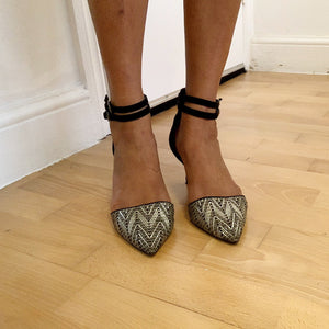 Strappy kitten heeled shoes from Zara