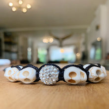 Load image into Gallery viewer, Crystal orb skull shambala bracelet