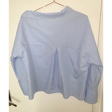 Load image into Gallery viewer, Vintage-blue off-shoulder shirt with reversed-collar-detail from Zara