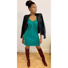 Load image into Gallery viewer, Shimmery green jersey mini dress