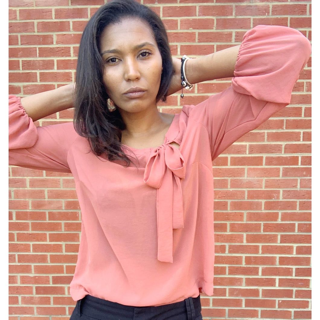 Coral and black blouse with side bow by NewLook