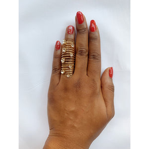 Crystal gold plated full-finger ring
