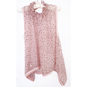 Sheer blush silk chiffon blouse