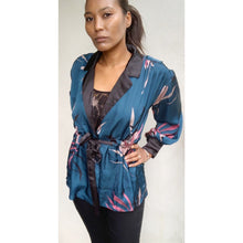 Load image into Gallery viewer, Teal floral print summer blazer by BOOHOO