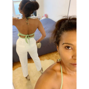 Vintage pastel green halter neck top