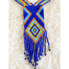 Load image into Gallery viewer, Afrochic blue/multicoloured beaded statement necklace