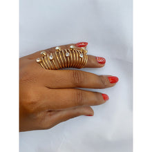 Load image into Gallery viewer, Crystal gold plated full-finger ring