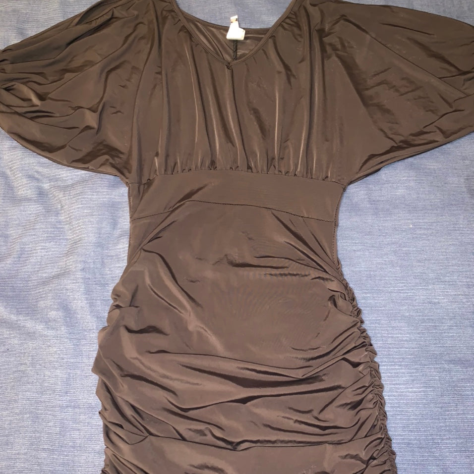 Chocolate Italian cold-shoulder dress