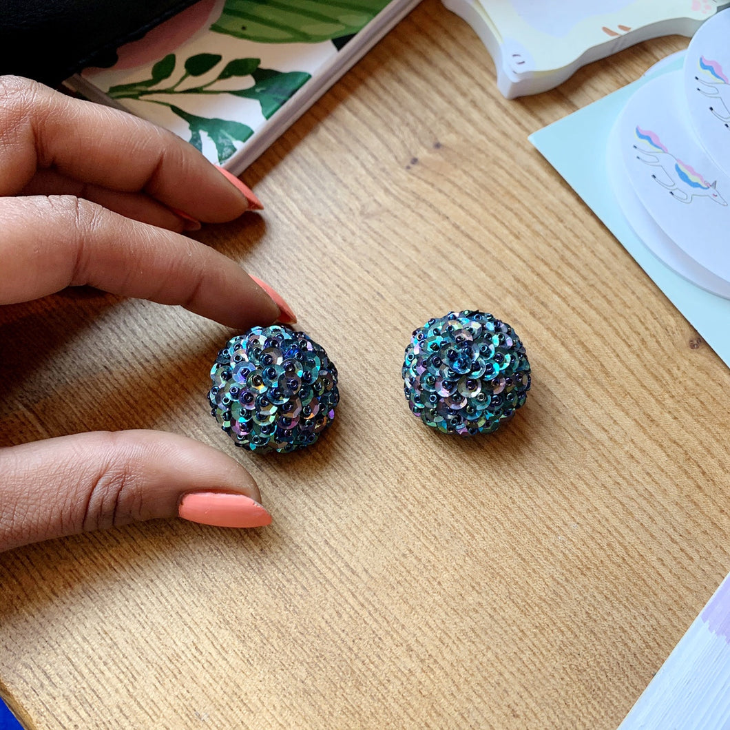 Holographic Sequin clip-on earrings