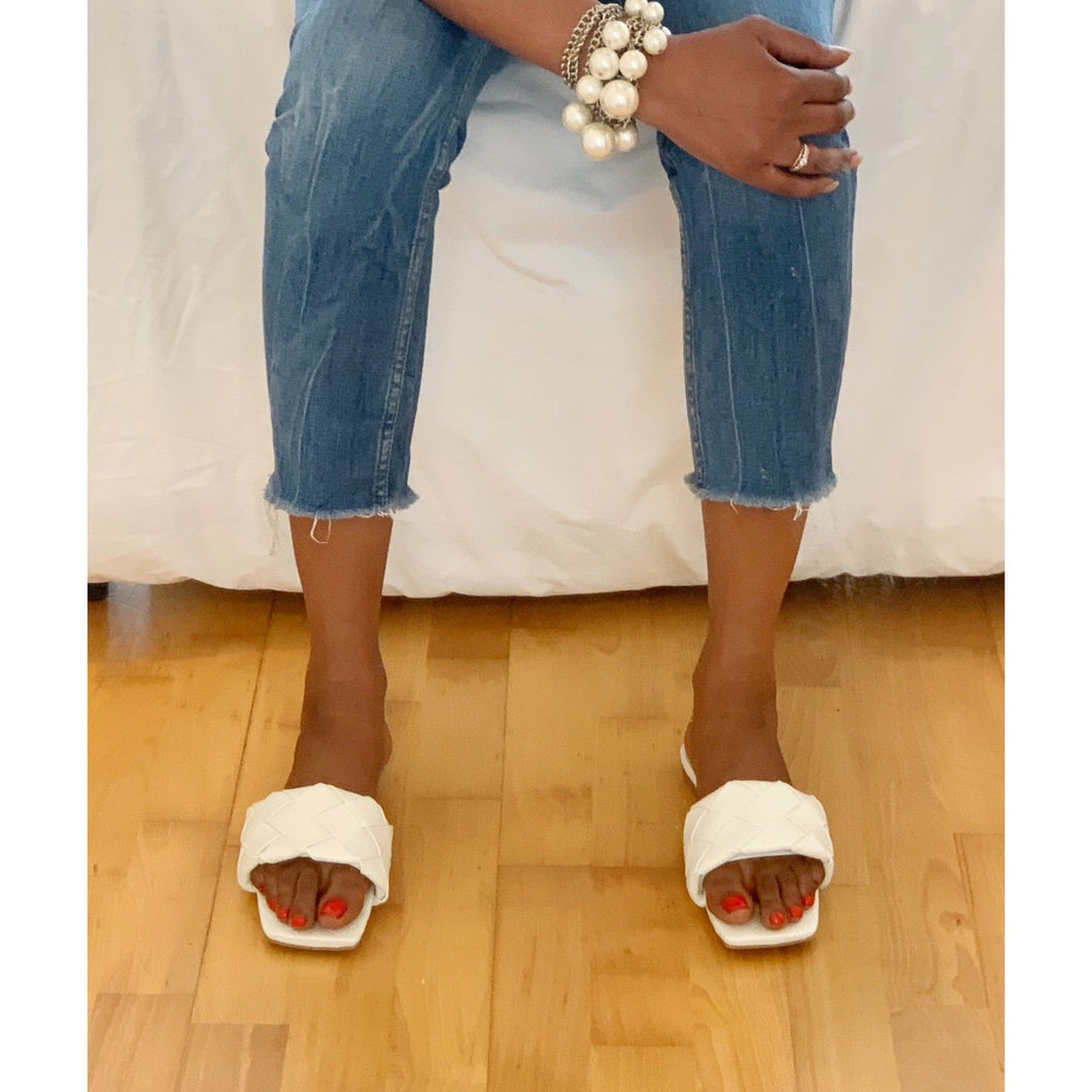 Gorgeous Designer Chic woven square toe sliders