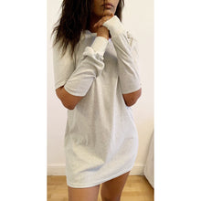 Load image into Gallery viewer, Grey melange jumper mini dress with symmetric cold-elbow effect