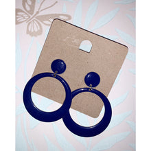 Load image into Gallery viewer, 80's vintage Navy dangling earrings
