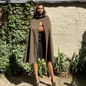 Velvet hooded khaki cape