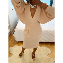 Load image into Gallery viewer, Regal blush midi dress with bat-sleeved cape-effects